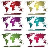 Inzameling van wereldkaarten Stock Foto