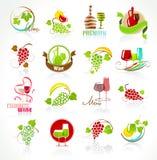 Inzameling van wijnpictogrammen Stock Foto's