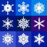 Inzameling van witte die sneeuwvlokken op blauwe, violette en purpere achtergrond wordt geïsoleerd Sneeuwpictogrammen Vector stock illustratie