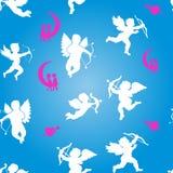 Inzameling van witte engelensilhouetten en harten, naadloze patt stock illustratie