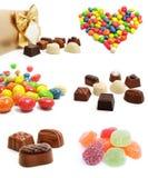 Inzameling van zoete geïsoleerdeh chocoladesuikergoed Stock Foto's