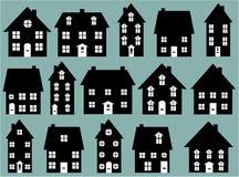 Inzameling van zwart & wit huispictogrammen vector illustratie