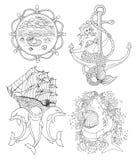 Inzameling van zwart-wit mariene symbolen of tatoegering Stock Afbeelding