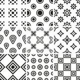 Inzameling van zwart-witte geometrische naadloze patronen Stock Fotografie