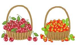 inzameling Verzamelde een grootmoedig hoogtepunt van oogstmanden van rijpe sappige bessen Verse mooie aardbeien en kersen, een br vector illustratie