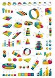 Inzamelingen van diagrammen van het infographics 3D ontwerp royalty-vrije illustratie