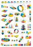 Inzamelingen van diagrammen van het infographics 3D ontwerp Stock Afbeelding
