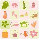 Inzamelingen van natuurvoedingetiketten en elementen Picknickpictogrammen Stock Fotografie