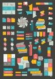 Inzamelingen van vlakke het ontwerpdiagrammen van de informatiegrafiek vector illustratie