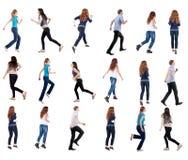 Inzamelings achtermening van lopende mensen Stock Foto
