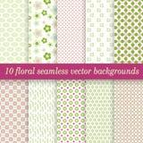 Inzamelings naadloze bloemenachtergronden Royalty-vrije Stock Fotografie