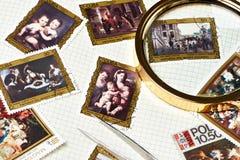 Inzamelings oude postzegels stock fotografie