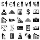 Inzamelings vlakke pictogrammen. Financiënsymbolen. Vector Stock Foto's