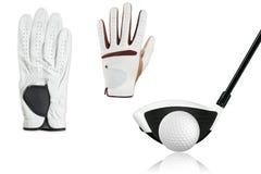 Inzamelingsgolfbal met golfbestuurder, golfhandschoenen stock afbeelding