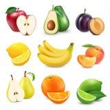 Inzamelingspictogrammen van fruit en bessen in een melkplons 3d vectorreeks Stock Fotografie