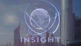 Inzichtstekst met 3d hologram van de aarde tegen de achtergrond van de moderne metropool stock illustratie