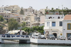 ażio Crete Nikolaos Widok od morza Obrazy Royalty Free