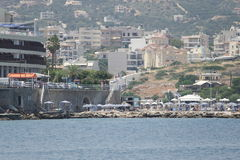ażio Crete Nikolaos Widok od morza Fotografia Stock
