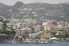 ażio Crete Nikolaos Widok od morza Zdjęcie Stock