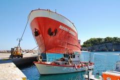 Ioanna Chrisoula, Alonissos. Freight ship Ioanna Chrisoula docked at Patitiri harbour on the Greek island of Alonissos on September 22, 2012. Operated by Xak stock image
