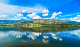 Ioannina lake Pamvotida in Epirus Region, Greece. Artistic panor Royalty Free Stock Photography