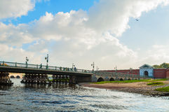 Ioannovsky or St John gates and Ioannovsky bridge to the Peter and Paul fortress in St Petersburg, Russia Stock Image