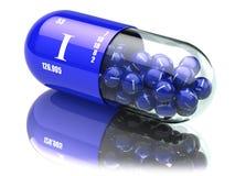 Iodine I element pills. Dietary supplements. Vitamin capsules. 3d illustration Royalty Free Stock Photos