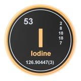Iodine I stibium chemical element. 3D rendering. Isolated on white background royalty free illustration
