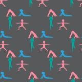 A ioga caçoa o teste padrão sem emenda Ginástica para crianças e o estilo de vida saudável Exercícios da ioga Classe da ioga, cen ilustração stock