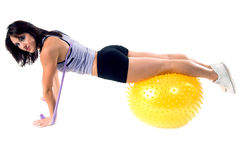 A ioga da faixa do estiramento elabora Imagens de Stock