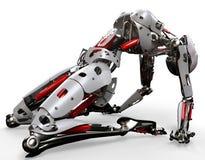 Ioga da mulher do robô Imagens de Stock Royalty Free