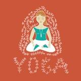 A ioga da palavra e a mulher meditar Imagens de Stock Royalty Free