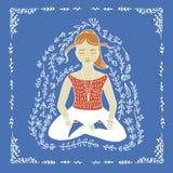 A ioga da palavra e a mulher meditar Imagem de Stock