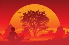 Ioga do nascer do sol imagens de stock
