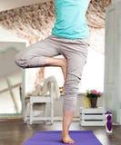 Ioga em casa estúdio da ioga no dia Foto de Stock