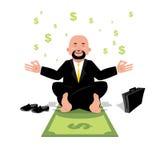 Ioga financeira Homem de negócios que medita sobre o dinheiro Homem que senta-se sobre Imagens de Stock Royalty Free