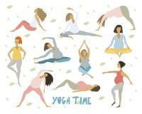 Ioga para mulheres saudáveis grávidas com a barriga que faz a ioga nas poses diferentes ajustadas ilustração royalty free