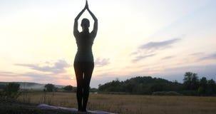 Ioga praticando da jovem mulher da silhueta no por do sol video estoque