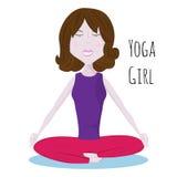 Ioga praticando da menina na posição de Lotus Ioga na natureza Ioga de Chakra Fotos de Stock Royalty Free