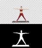 Ioga praticando da mulher, estando em exercício prolongado do ângulo lateral, pose do parsvakonasana de Utthita, Alpha Channel imagens de stock royalty free