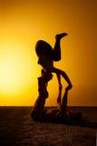 Ioga praticando de dois povos na luz do por do sol Imagens de Stock