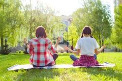 Ioga praticando do adolescente da mamã e da filha no parque foto de stock royalty free