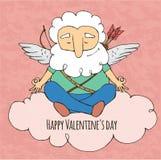 Iogue engraçado do cupido Assento na postura da ioga Dia do `s do Valentim Foto de Stock