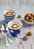 Iogurte caseiro com canela e biscoitos imagens de stock