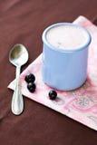 Iogurte caseiro em uma bacia cerâmica em uma toalha de mesa cor-de-rosa Foto de Stock