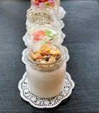 Iogurte caseiro fresco natural do leite de vaca feito a mão com bactérias probióticos Imagens de Stock