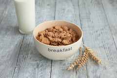 Iogurte, cereal em uma placa para um café da manhã saudável Foto de Stock