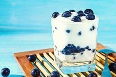 Iogurte com as bagas azuis da ameixoeira-brava em um vidro Framboesa do gelado da baga dessert imagem de stock royalty free