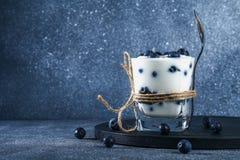 Iogurte com as bagas azuis da ameixoeira-brava em um vidro Framboesa do gelado da baga dessert foto de stock royalty free