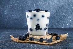 Iogurte com as bagas azuis da ameixoeira-brava em um vidro Framboesa do gelado da baga dessert imagem de stock